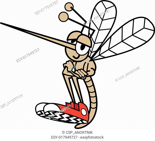 Mosquito In Cartoon Style