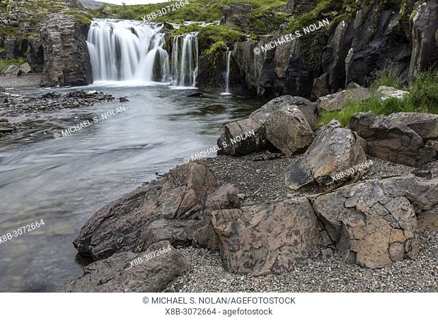 Dynjandi, Fjallfoss, is a series of waterfalls located in the Westfjords, Vestfirðir, Iceland