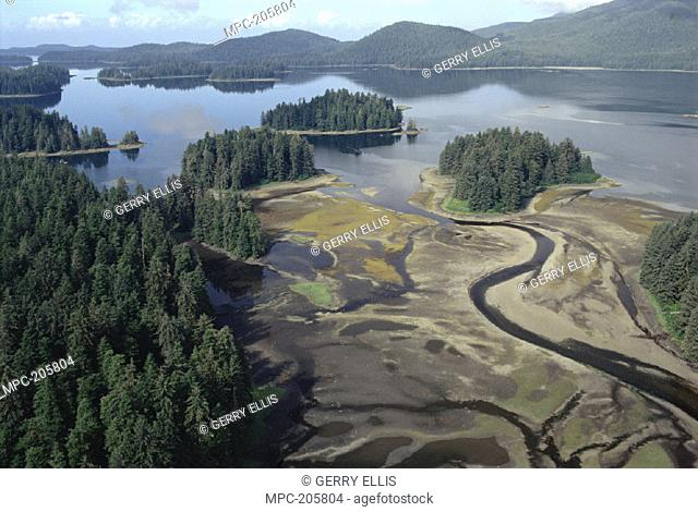 AERIAL OF ESTUARY IN MAURELLE ISLAND WILDERNESS, TONGASS NATIONAL FOREST, ALASKA
