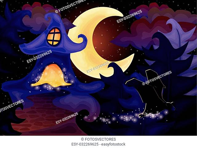 Halloween night wallpaper with haunted house, vector illustration