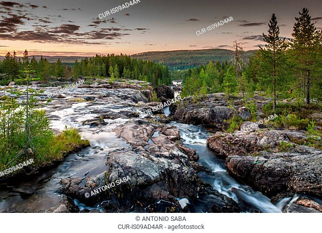 River flowing through gorge, Storforsen, Lapland, Sweden