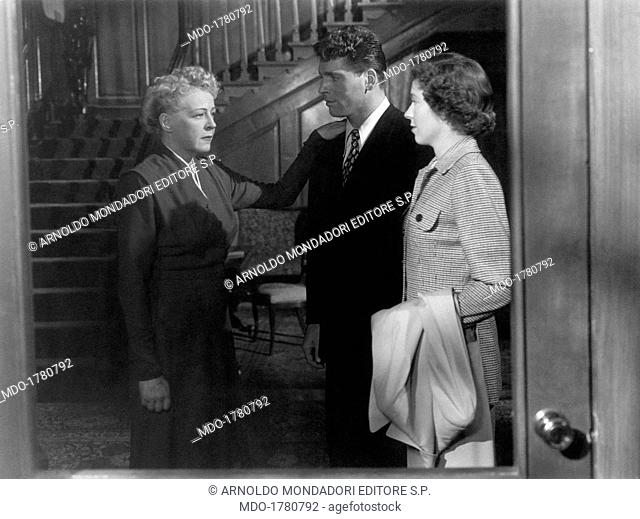 Mady Christians, Burt Lancaster and Louisa Horton Hill in All My Sons. Austrian-born American actress Mady Christians holding her hand on the shoulder of...