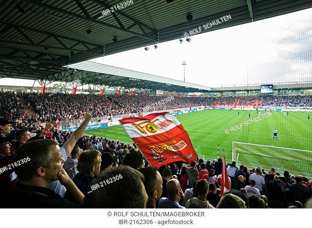 1st FC Union fans during a game against FC Schalke 04 in the Alte Foersterei Stadium, Berlin, Germany, Europe