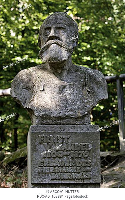 Bust of Ernst von Bandel the builder of the Hermann monument near Detmold Teutoburg Forest North Rhine-Westphalia Germany