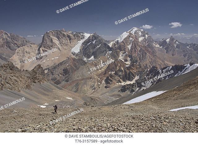 Ascending the Chimtarga Pass, Fann Mountains, Tajikistan