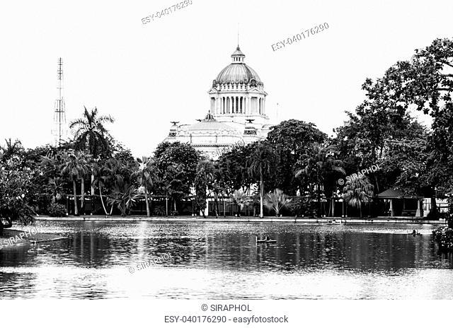 Ananta Samakhom Throne Hall process black and white style