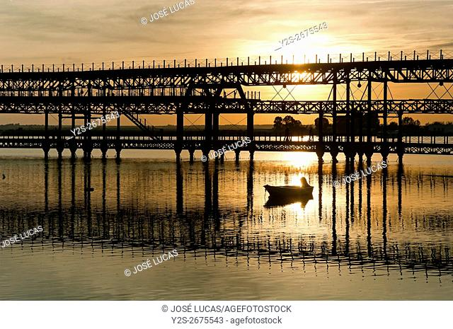 Mineral pier of Riotinto in the Odiel river, Huelva, Region of Andalusia, Spain, Europe