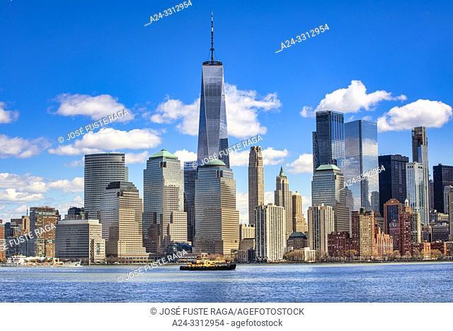USA, New York City, Manhattan, Downtown Manhattan, Skyline, World Trade Bldg. , Hudson river