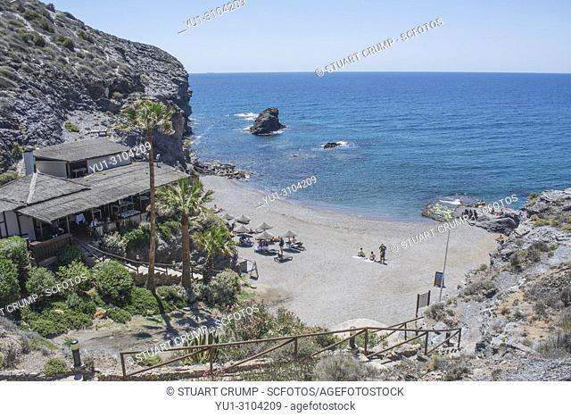 Beach and La Cala restaurant at Cala del Barco in La Manga Golf Resort Murcia Spain