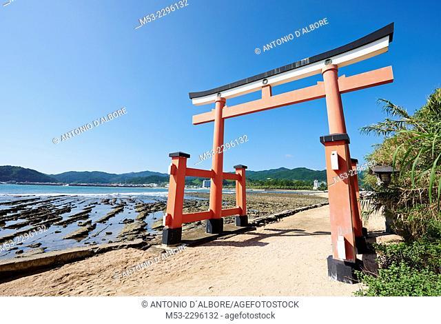 A torii gate at the entrance of Aoshima Shinto Shrine. Aoshima. Miyazaki Prefecture. Japan