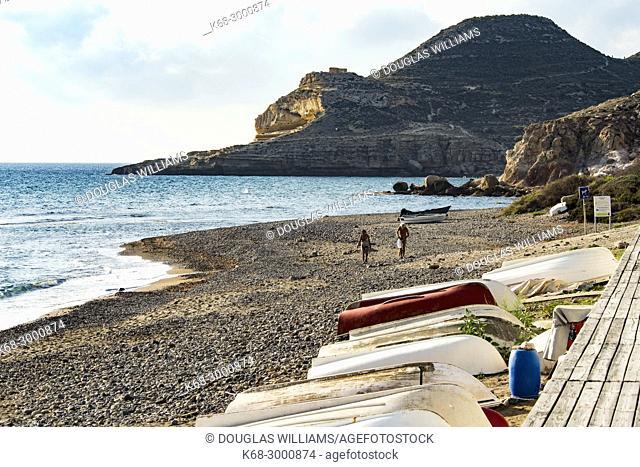 Boats on the beach at Las Negras village, Almeria, Spain
