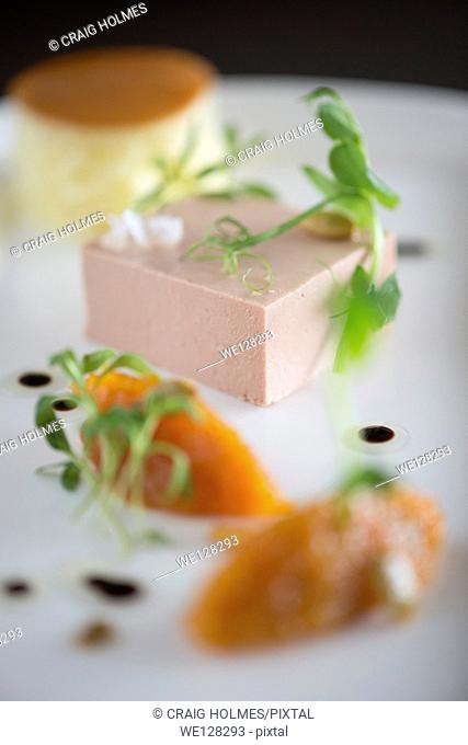 Pate, brioche and marmalade ood from a fine dining restaurant