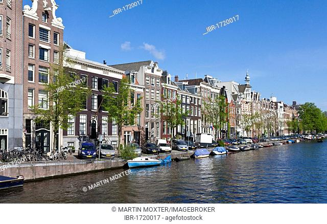 Old canal houses and merchant buildings on the Prinsengracht canal, Amsterdam, Holland, Netherlands, Europe