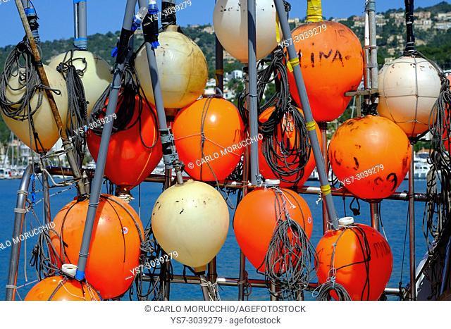 Buoys, Port d'Andratx fishing village, Majorca, Spain