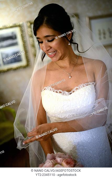 Portrait of latin bride after the wedding