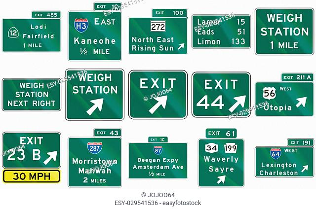 Collection of direction signs used in the USA