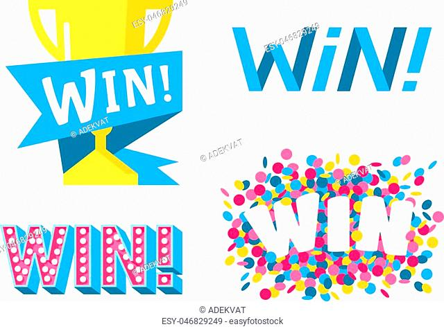Win sign with colour confetti vector paper illustration. Success luck message contest promotion win text. Banner competition award lucky lottery word win text