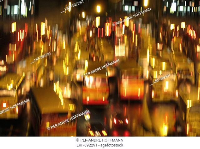 Traffic in motion in Edsa at night, Manila, Makati, Metro Manila, Luzon Island, Philippines, Asia