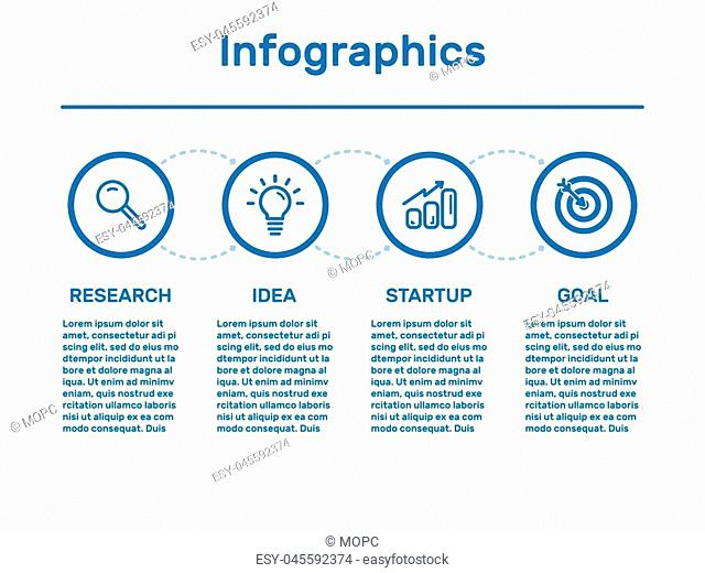 Vector illustration of business data visualization. Process chart. Elements of graph, diagram with 4 steps, options, parts or processes