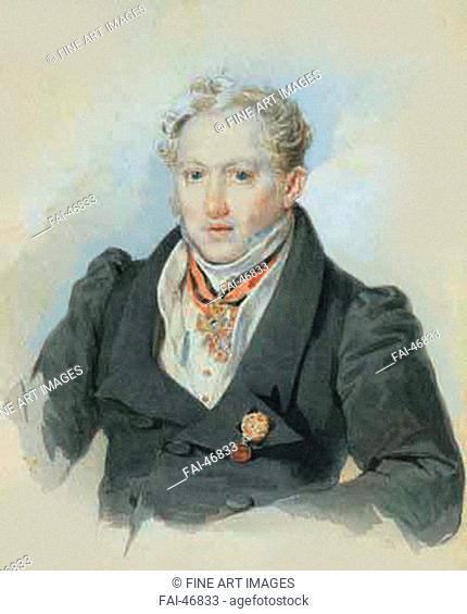 Alexander Ivanovich Blok (1786-1848) by Sokolov, Pyotr Fyodorovich (1791-1848)/Colour Lithography/Romanticism/1829/Russia/Russian State Archive of Literature...
