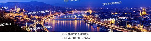 Illuminated cityscape with Danube River