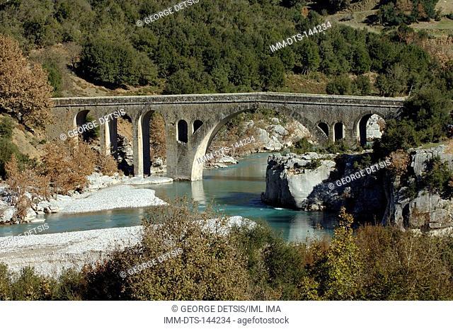 View of Avlaki bridge on the Acheloos River. Evritania, Central Greece, Greece, Europe
