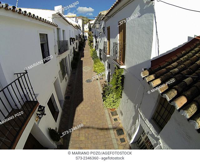 Benalmádena village street aerial view, Málaga, Andalusia, Spain