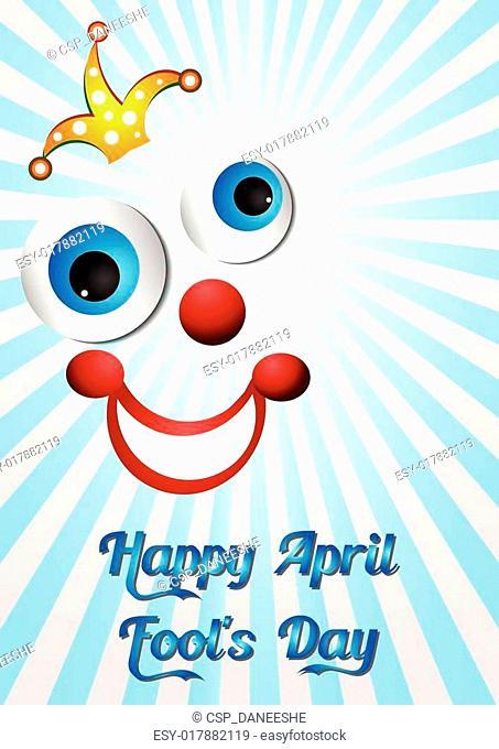 Postcard on April 1 - April Fool's day. Face of joker on light blue