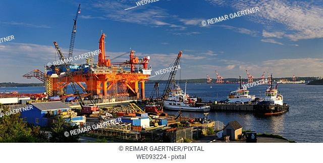 Louisiana Oil Rig under repair at Woodside Dartmouth in Halifax Harbour Nova Scotia