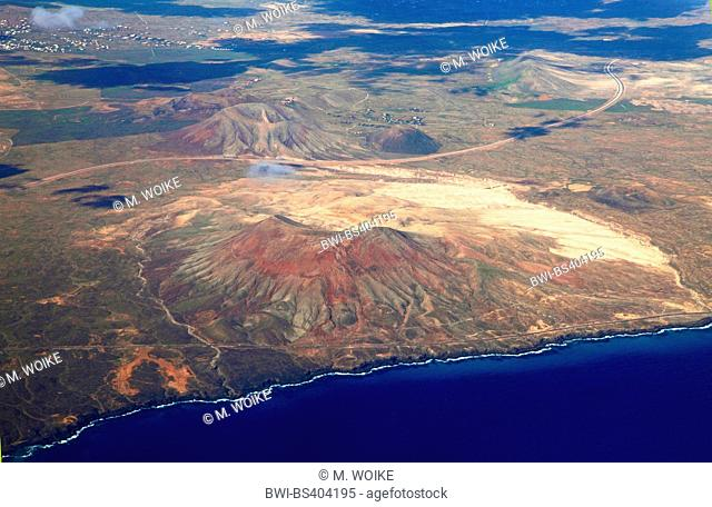 Mountain Roja near Parque Holandes, aerial view, Canary Islands, Fuerteventura