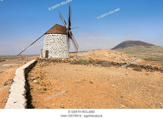 Molinos de Villaverde, Spain, Europe, Canary islands, Fuerteventura, windmill