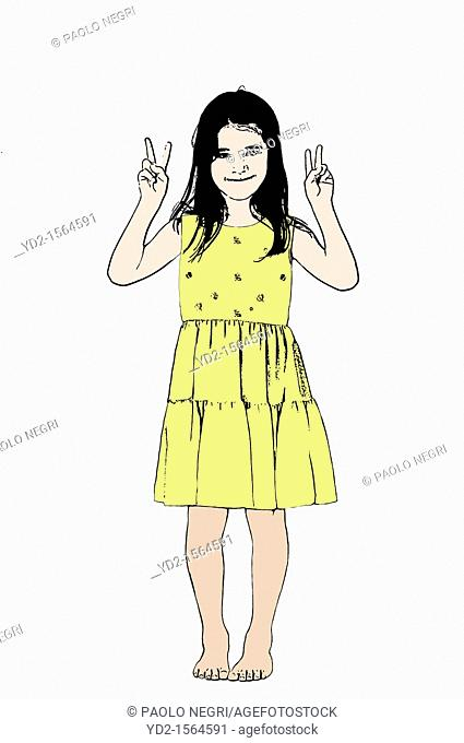 barefoot baby girl girl in yellow dress with hands up in victory