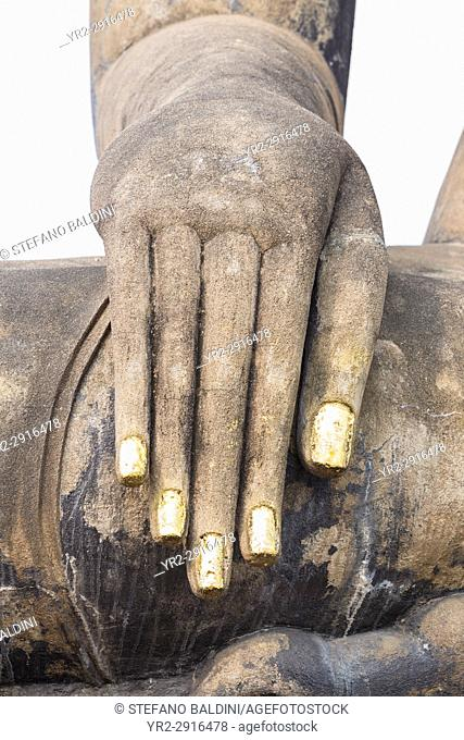 Hand of the Buddha statue at the Wihan or temple hall at Wat Mahathat complex, Sukhothai historical park, Sukhothai, Thailand