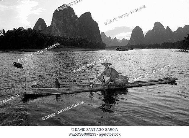 China, Guangxi, Xingping, cormorant fisherman on Li river