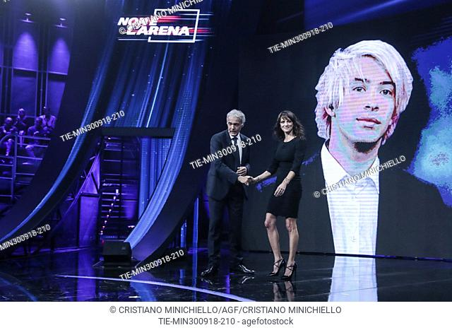 Tv conductor Massimo Giletti and Italian actress and director Asia Argento during the the tv show Non e' l'Arena in Rome, ITALY-30-09-2018