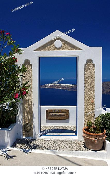 Greece, Europe, Cyclades, island, isle, islands, Greek, outside, Mediterranean Sea, day, nobody, Santorin, Santorini, Firostefani
