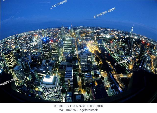 Fish eye view from the Rialto oberservation deck tower by night: Yarra river and CBD. Melbourne, Victoria, Australia