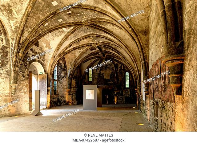 France, Cotes d'Armor, stop on the Way of St James, Paimpol, Beauport abbey 13th century, the ducal hall