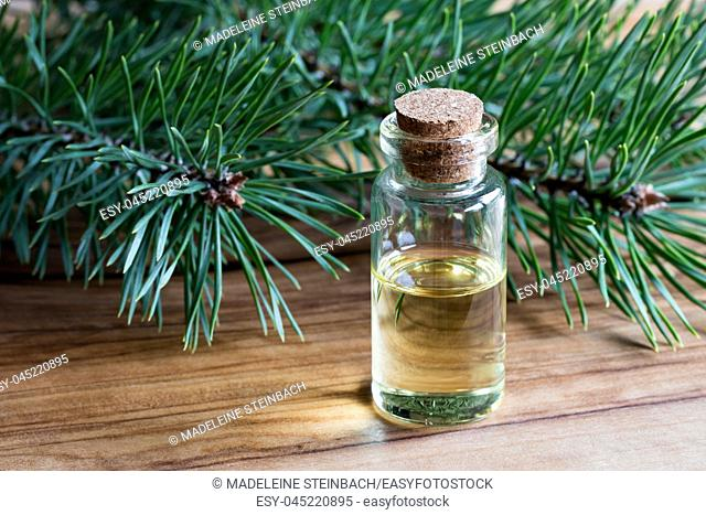 A bottle of pine essential oil on a wooden table with pine branches in the background