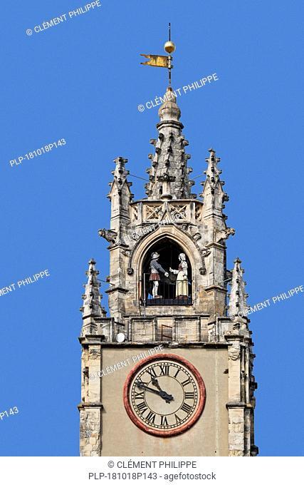 Clocher Jacquemart, automaton clock in belfry / clock tower in the city Avignon, Vaucluse, Provence-Alpes-Côte d'Azur, France