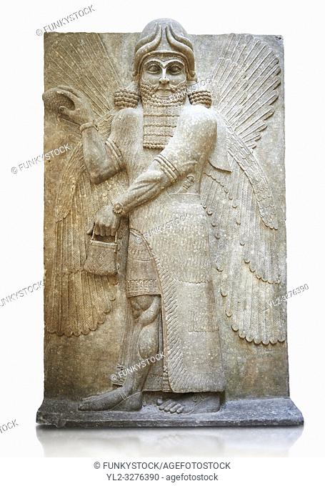 Stone relief sculptured panel of a Genie blessing. Gate No 3, Inv AO 19863 from Dur Sharrukin the palace of Assyrian king Sargon II at Khorsabad, 713-706 BC