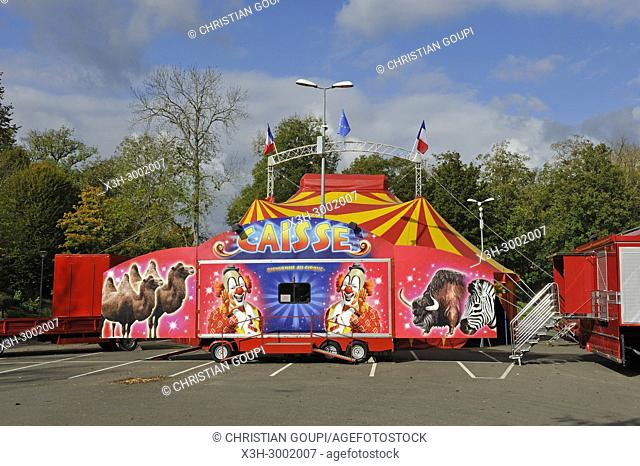 circus traditional marquee installed on a car-park in a village of Centre-Val de Loire Region, France, Europe