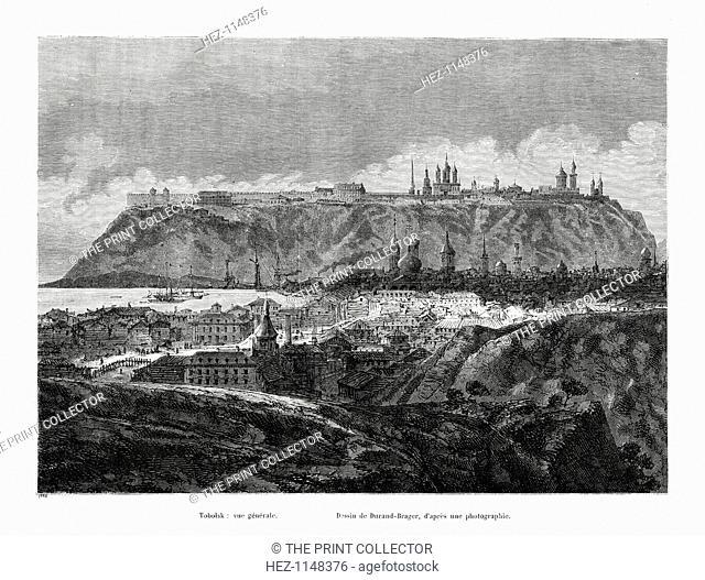 Tobolsk, Siberia, Russia, 1886. Tobolsk, historic capital of Siberia, lies at the confluence of the Tobol and Irtysh rivers