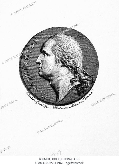 George Washington's profile, line engraving, 1900. From the New York Public Library. (Photo by Smith Collection/Gado/Getty Images)