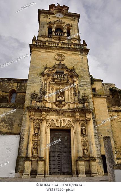Front door and bell tower of Saint Peter Church in Arcos de la Frontera Spain