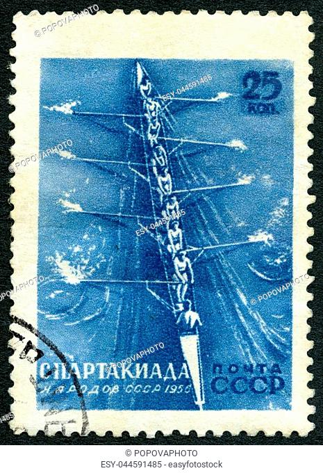 USSR - CIRCA 1956: A stamp printed in USSR shows Rowing, series All-Union Spartacist Games, Moscow, circa 1956