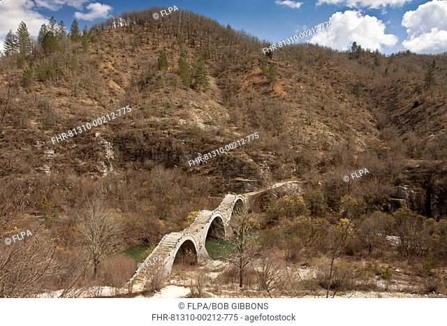 View of triple-arched old packhorse bridge (built 1814), Kalogeriko or Plakida Bridge, Zagoria, Northwest Greece, April