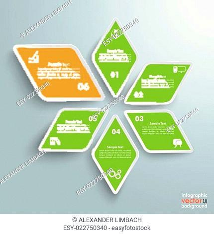 Rhombus Star Green Orange Successful One