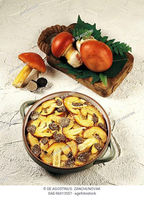 Dish of Caesar's mushrooms with truffles slivers