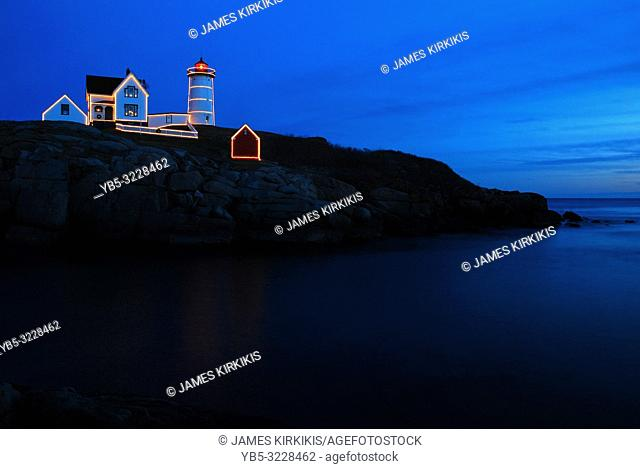 The Nubble light in Maine is decorated for the Christmas season